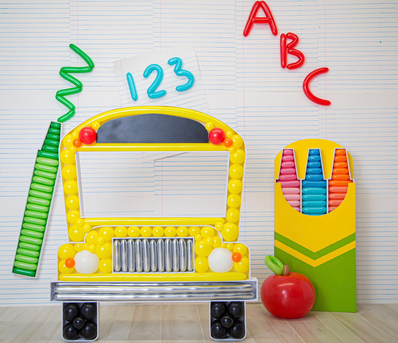School Bus BALLOON MOSAIC digital design template
