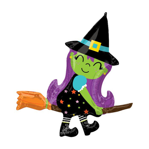 Cute Witch on a Broomstick Foil Balloon - Single Balloon