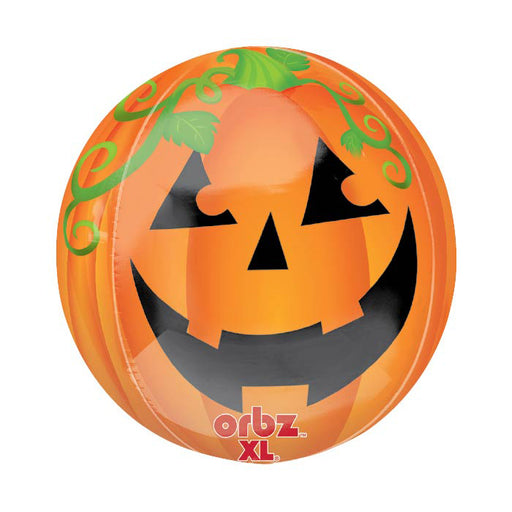 16 inch Pumpkin Happy Halloween Orbz Foil Balloon - Single Balloon