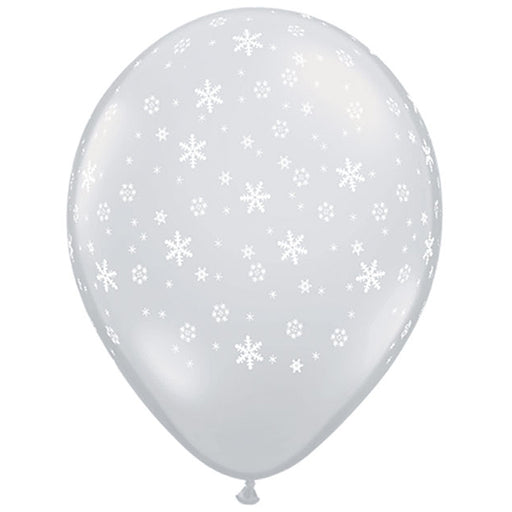 11 inch Snowflakes-A-Round Diamond Clear Latex Balloon - 10 Pack