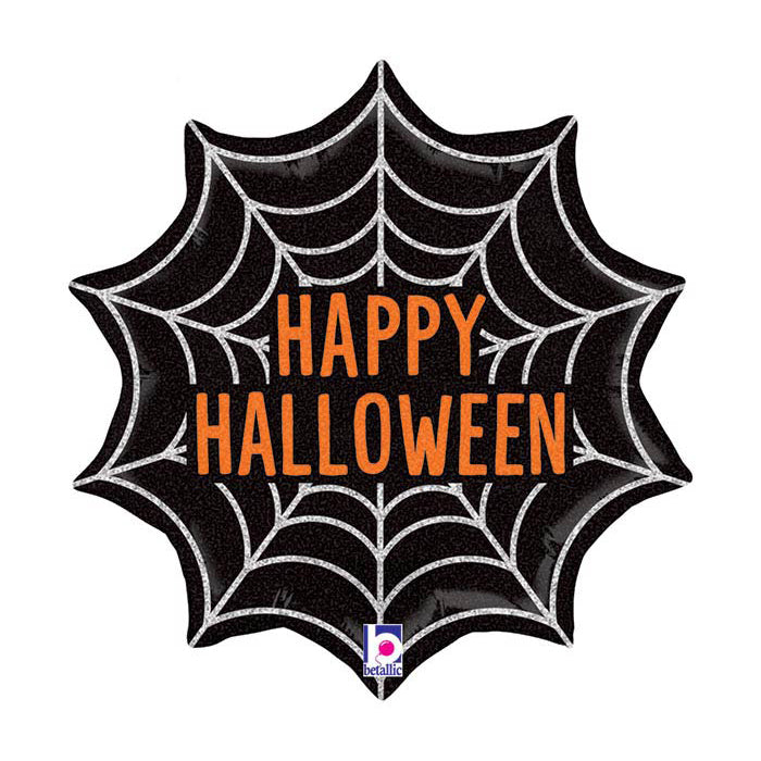 18 Inch Halloween Web Holographic Foil Balloon - Single Balloon