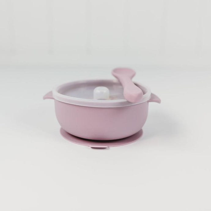 Silicone Bowl with Spoon & Lid - Lilac