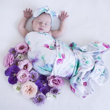 Load image into Gallery viewer, Jersey Wrap & Topknot Set- Sweet Petal