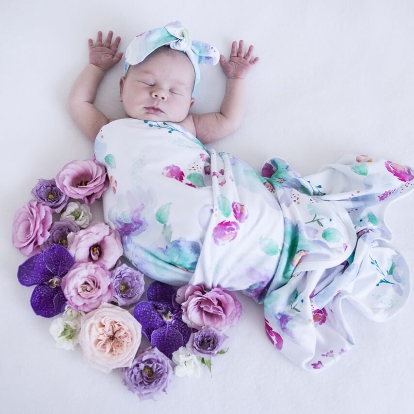 Jersey Wrap & Topknot Set- Sweet Petal