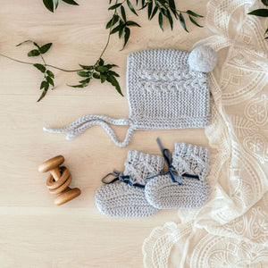 Blue Merino Wool Baby Bonnet & Booties Set