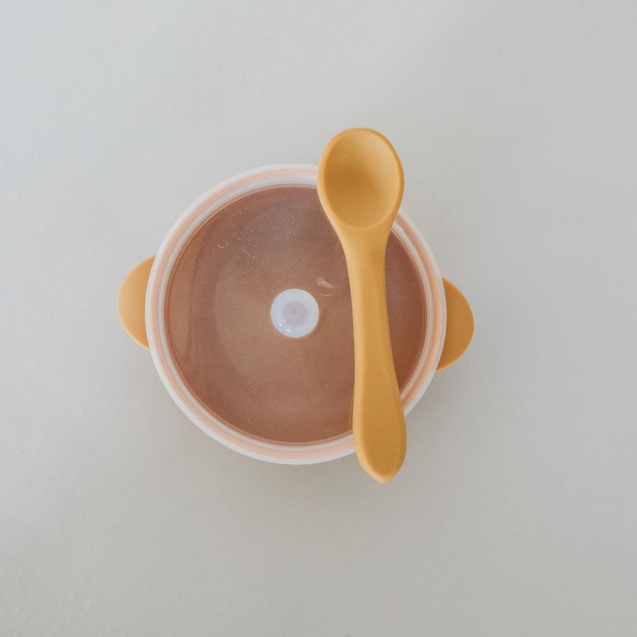 Silicone Bowl with Lid & Spoon - Honey
