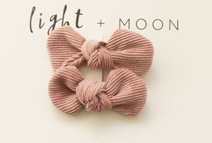 Corduroy Bow Clips - Dusty Pink