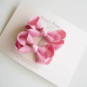 Bow Clip Small Piggy Tail Pair - Dusty Pink