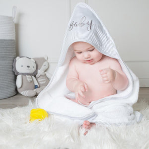 Hooded Towel - Grey Stripe