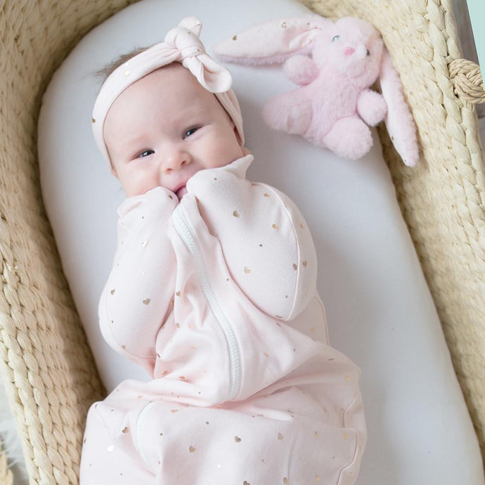Zip Up Smart Swaddle - Hearts Pink