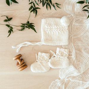 Ivory Merino Wool Baby Bonnet & Booties Set