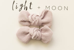 Corduroy Bow Clips - Lilac