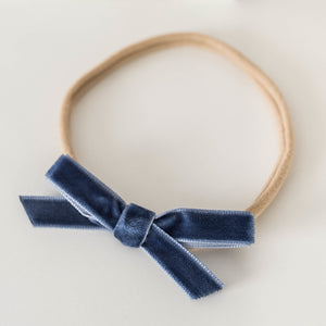 Velvet Petite Bow Headband - Moonlight Blue