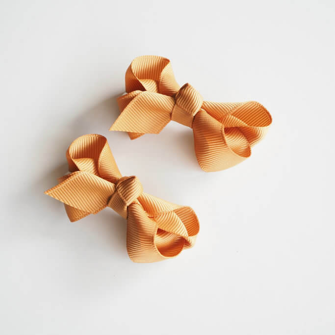 Bow Clip Small Piggy Tail Pair - Mustard