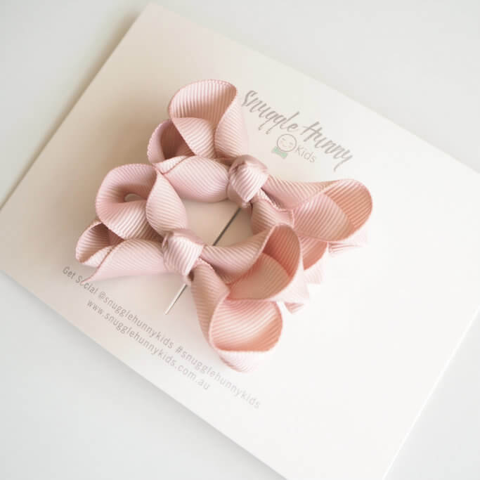 Bow Clip Small Piggy Tail Pair - Nude