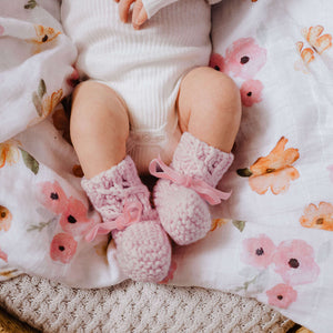 Pink Merino Wool Baby Bonnet & Booties Set