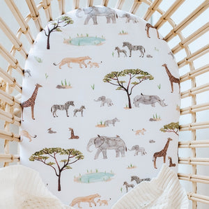Fitted Bassinet & Change Mat Cover - Safari