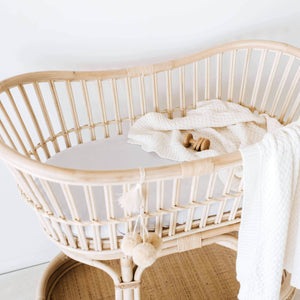 Fitted Bassinet & Change Mat Cover - Stone