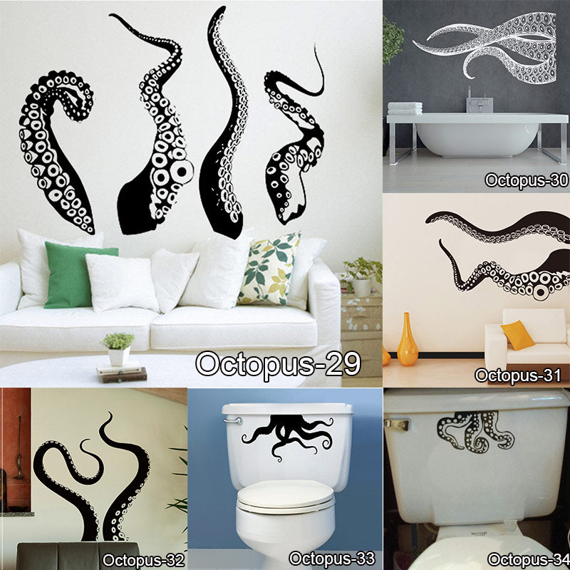 Vinyl Octopus Tentacles Wall Sticker For Toilet Tank Cool Decor ...