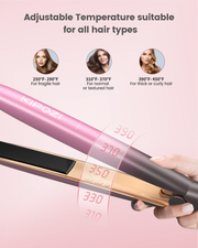 KIPOZI Pro Hair Straightener, Updated Version 2 in 1 Flat Curling Iron, Ceramic 3D Floating Plates Smooth All Hair Types, Curved Handle, Dual Voltage