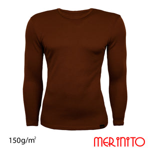 Bluza barbateasca 100% merino 150g/mp  Mărime S, Culoare Toffee Brown,