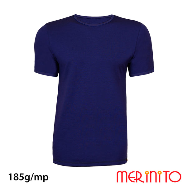 Tricou barbatesc 100% merino 185g/mp