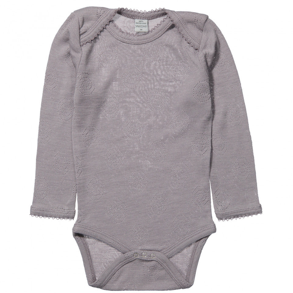 Body Smallstuff cu maneca lunga, 100% lana merinos, jaquard Blue rose
