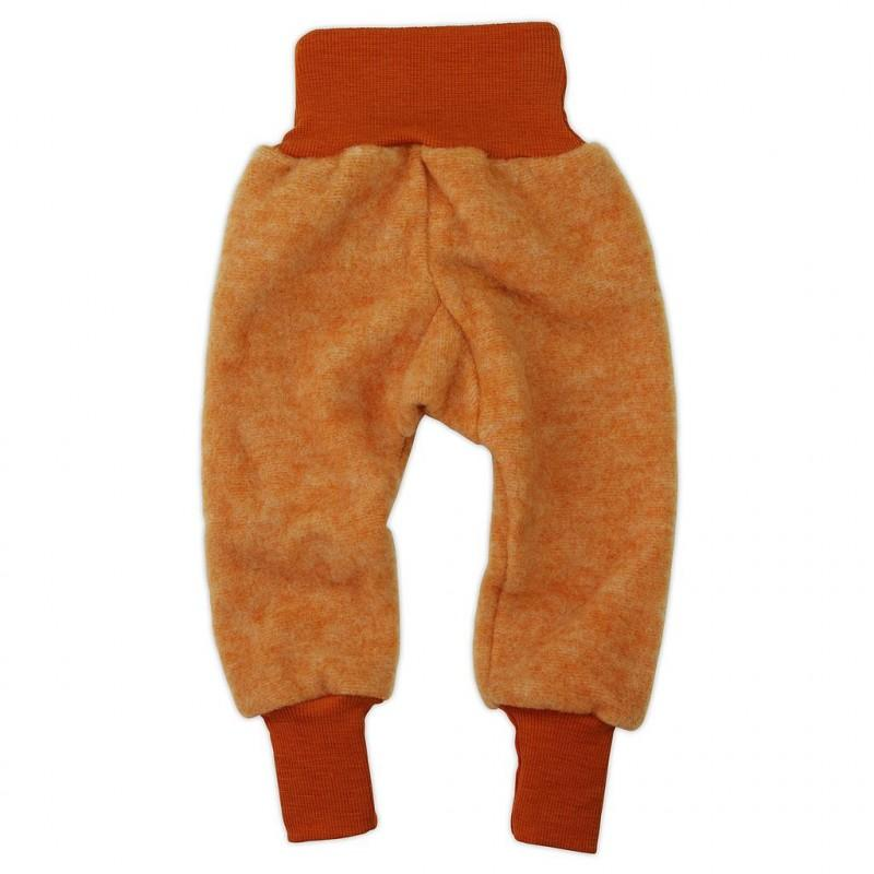 Pantaloni copii Cosilana din lana merinos fleece orange