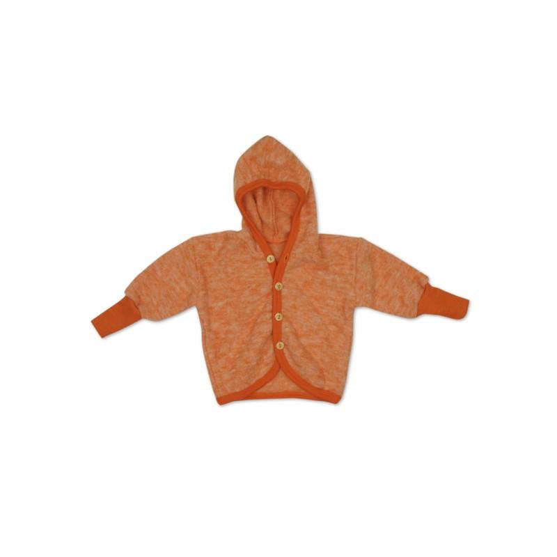 Jacheta copii Cosilana cu gluga din lana merinos fleece orange