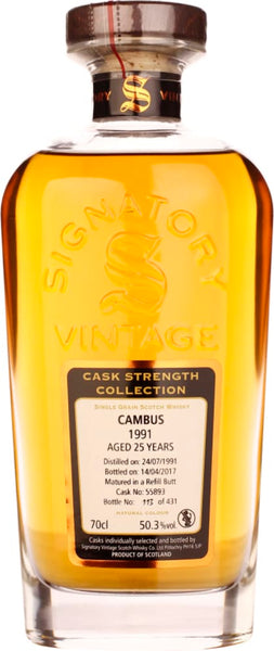 Signatory Cambus 25 years in 1991 Cask Strength 70CL - Aristo Spirits