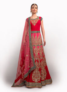 sonascouture - Red And Pink Shaded Silk Georgette Lengha BW006