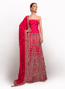 sonascouture - Silk Deep Pink And Peach A-line Lengha BW008