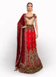 sonascouture - Gold/Red and Maroon Bridal Lengha BW016