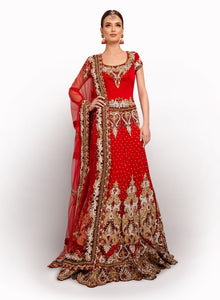 Heavy Red Bridal Lengha BW022 - Sonas Haute Couture