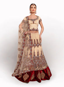 Cream And Maroon Bridal Lengha BW024 - Sonas Haute Couture