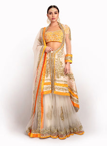 sonascouture - Orange And Ivory Jacket Lengha BW029