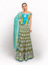 Silk Turquoise, Olive And Mehndi Green Lengha BW031