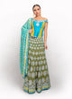 sonascouture - Silk Turquoise, Olive And Mehndi Green Lengha BW031