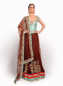 Brown Net Lengha BW034 - Sonas Haute Couture