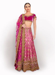 sonascouture - Magenta Brocade And Velvet Lengha BW035