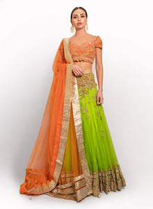 sonascouture - Orange And Lime Green Net Lengha BW037