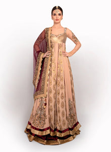 Peach And Maroon Anarkali Length BW049 - Sonas Haute Couture