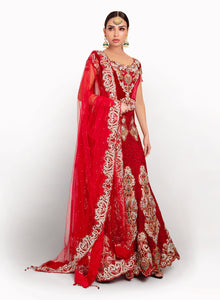 sonascouture - Red Bridal Detailed Lengha BW052