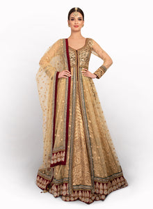 Luxurious Gold Jacket Lengha BW059 - Sonas Haute Couture