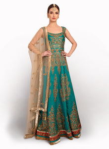 Raw Silk Gown With Antique Work GW001 - Sonas Haute Couture