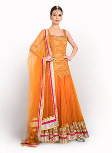 sonascouture - Contemporary Orange Anarkali BW070