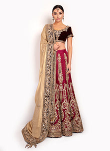 sonascouture - Silk Lengha And Velvet Top BW083