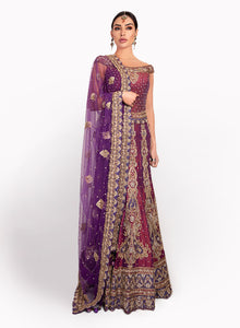 sonascouture - Two-Tone Purple Raw Silk Lengha BW087
