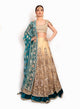 Gorgeous Gold And Teal Lengha BW096 - Sonas Haute Couture