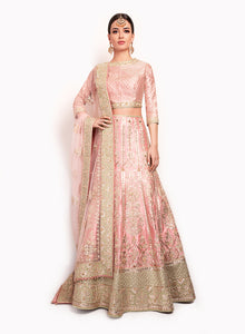 Baby Pink Fine Silk Lengha BW098 - Sonas Haute Couture